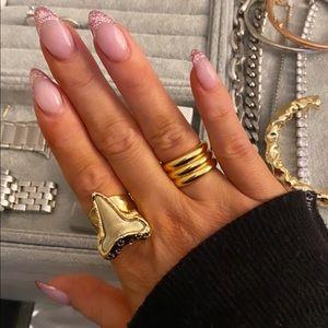 Shark tooth and black diamond ring